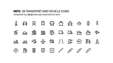 Transport mini line, illustrations, icons, backgrounds and graphics. The icons pack is black and white, flat, vector, pixel perfect, minimal, suitable for web and print.