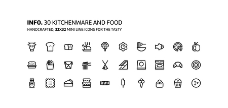 Kitchenware, foods mini line, illustrations, icons, backgrounds and graphics. The icons pack is black and white, flat, vector, pixel perfect, minimal, suitable for web and print.