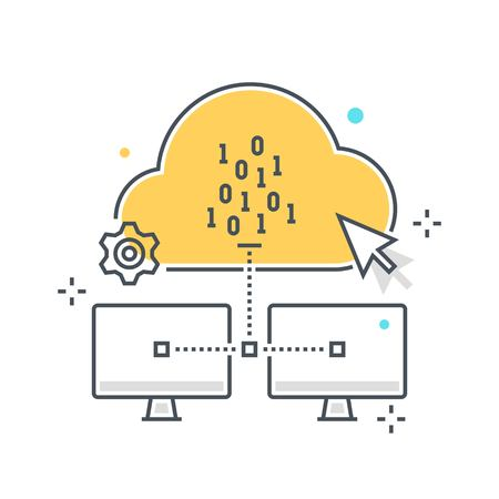 Color line, cloud hosting illustration, icon, background and graphics. The illustration is colorful, flat, vector, pixel perfect, suitable for web and print. It is linear stokes and fills.