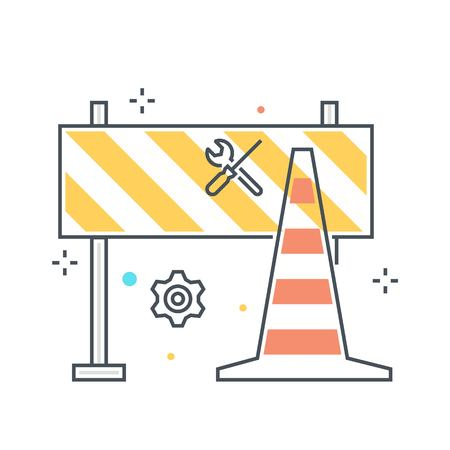Color line, road block illustration, icon, background and graphics. The illustration is colorful, flat, vector, pixel perfect, suitable for web and print. It is linear stokes and fills. Ilustração