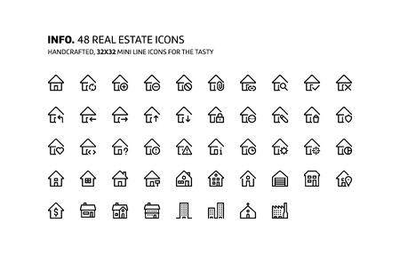Real estate mini line, illustrations, icons, backgrounds and graphics. The icons pack is black and white, flat, vector, pixel perfect, minimal, suitable for web and print. Ilustração