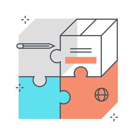 Linea di colore, illustrazione del concetto di mercato di mercato del prodotto, icona, priorità bassa e grafica. L'illustrazione è colorato, piatto, vettoriale, pixel perfetto, adatto per il web e la stampa. È stokes e riempimenti lineari.