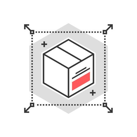 Color box icon, concept illustration, icon, background and graphics. The illustration is colorful, flat, vector, pixel perfect, suitable for web and print. It is linear stokes and fills.