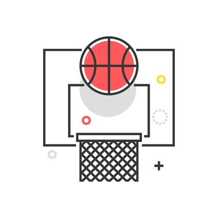 Color box basketball icon, background and graphics. The illustration is colorful, flat, vector, pixel perfect, suitable for web and print. It is linear stokes and fills.
