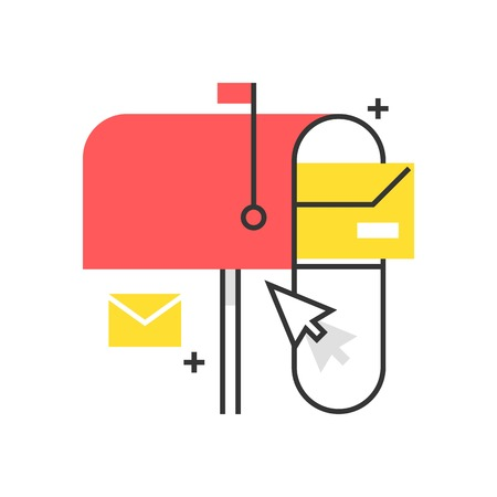 Color box icon, mail box concept illustration, icon, background and graphics. The illustration is colorful, flat, vector, pixel perfect, suitable for web and print. It is linear stokes and fills.
