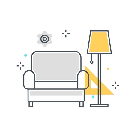 Color line, sofa website concept illustration, icon, background and graphics. The illustration is colorful, flat, vector, pixel perfect, suitable for web and print. It is linear stokes and fills.