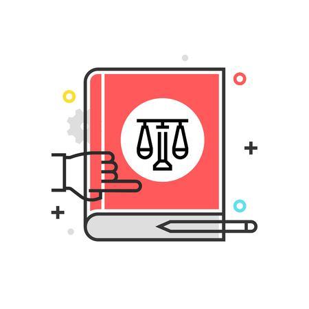Kleurvakpictogram, wetboekillustratie, pictogram, achtergrond en grafiek. De illustratie is kleurrijk, vlak, vector, perfecte pixel, geschikt voor Web en druk. Het is lineaire stokes en vullingen.