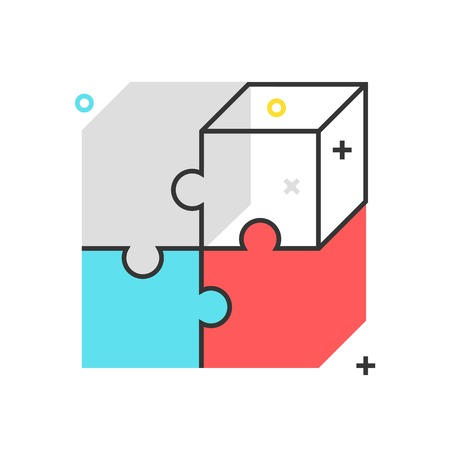 responsive: Color box puzzle icon, background and graphics. The illustration is colorful, flat, vector, pixel perfect, suitable for web and print. It is linear stokes and fills. Illustration
