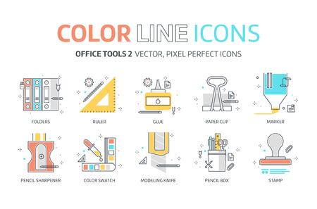 色のライン、オフィス ツールのイラスト、アイコン、背景、グラフィック。イラストは、カラフルなフラット、ベクトル、ピクセル完璧な web に適したプリントです。それは線形ストークスし、いっぱい。 写真素材 - 77758255