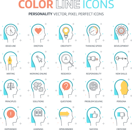 personality development: Color line, personality illustrations, icons, backgrounds and graphics. The illustration is colorful, flat, vector, pixel perfect, suitable for web and print. It is linear stokes and fills. Illustration