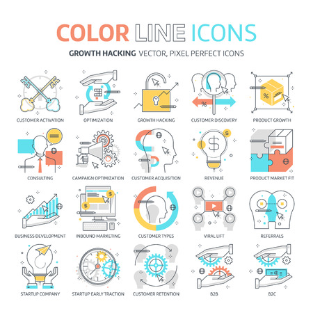 referrals: Color line, growth hacking illustrations, icons, backgrounds and graphics. The illustration is colorful, flat, vector, pixel perfect, suitable for web and print. It is linear stokes and fills.