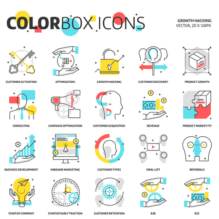 Color box icons, growth hacking concept illustrations, icons, backgrounds and graphics. The illustration is colorful, flat, vector, pixel perfect, suitable for web and print. It is linear stokes and fills.