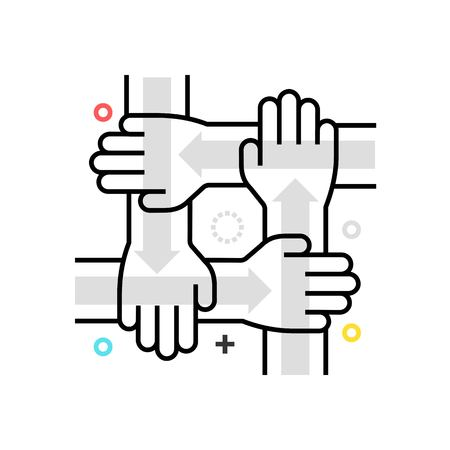 Color box collaboration icon, background and graphics. The illustration is colorful, flat, vector, pixel perfect, suitable for web and print. It is linear stokes and fills.
