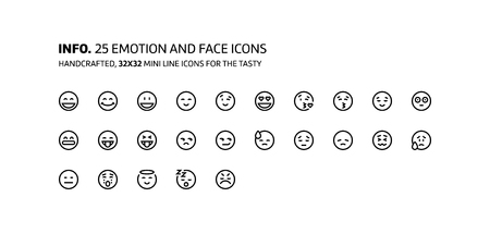 Emotions mini line, illustrations, icons, backgrounds and graphics. The icons pack is black and white, flat, vector, pixel perfect, minimal, suitable for web and print. Vetores