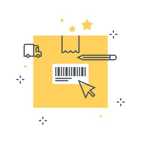 Color line, tracking number concept illustration, icon, background and graphics. The illustration is colorful, flat, vector, pixel perfect, suitable for web and print. It is linear stokes and fills.