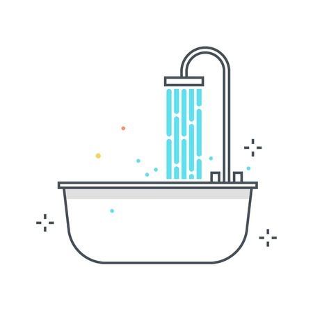 Color line, bath tub illustration, icon, background and graphics. The illustration is colorful, flat, vector, pixel perfect, suitable for web and print. It is linear stokes and fills. Vettoriali