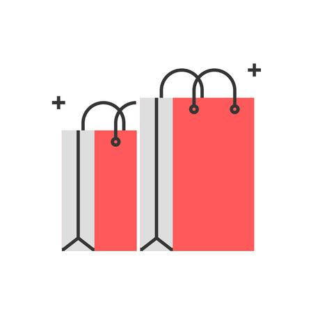 Color box icon, shopping bag concept illustration, icon, background and graphics. The illustration is colorful, flat, vector, pixel perfect for web and print. Linear stokes and fills.