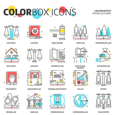 Color box icons, law illustrations, icons, backgrounds and graphics. The illustration is colorful, flat, vector, pixel perfect, suitable for web and print. Linear stokes and fills.