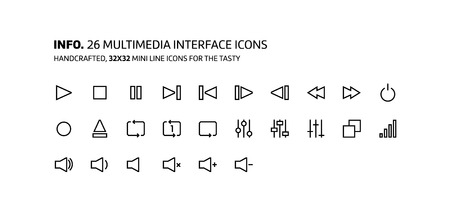 Video, music interface mini line, illustrations, icons, backgrounds and graphics. The icons pack is black and white, flat, vector, pixel perfect, minimal, suitable for web and print.