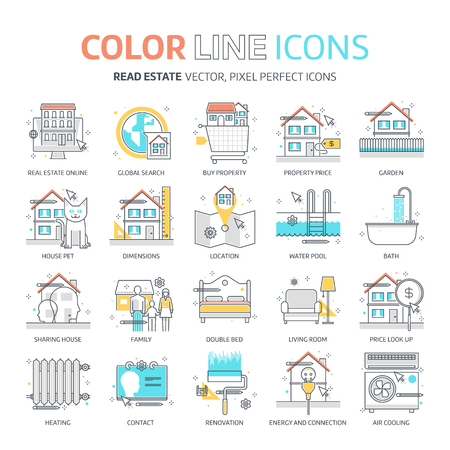 Color line, real estate illustrations, icons, backgrounds and graphics. The illustration is colorful, flat, vector, pixel perfect, suitable for web and print. It is linear stokes and fills.