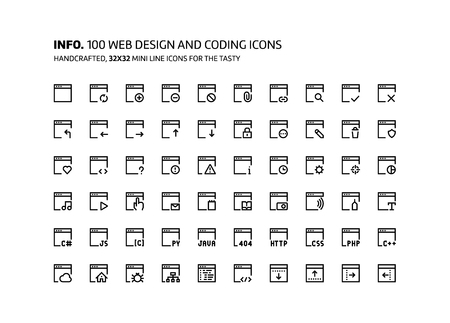 Web development mini line, illustrations, icons, backgrounds and graphics. The icons pack is black and white, flat, vector, pixel perfect, minimal, suitable for web and print. Illustration