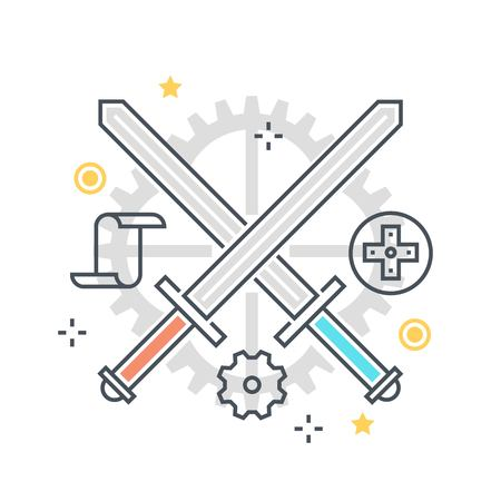 Color line, crossing swords concept illustration, icon, background and graphics. The illustration is colorful, flat, vector, pixel perfect, suitable for web and print. It is linear stokes and fills.