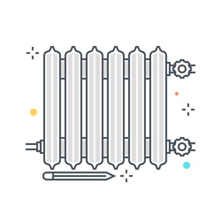 Color line, heater illustration, icon, background and graphics. The illustration is colorful, flat, vector, pixel perfect, suitable for web and print. It is linear stokes and fills.