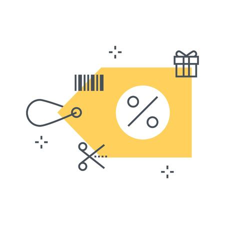 Color line, discount tag concept illustration, icon, background and graphics. The illustration is colorful, flat, vector, pixel perfect, suitable for web and print. It is linear stokes and fills.