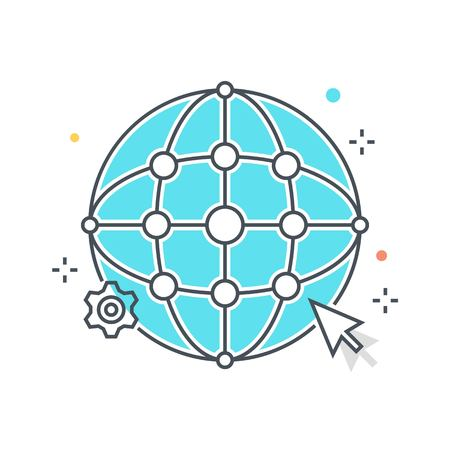 globe grid: Color line, global network illustration, icon, background and graphics. The illustration is colorful, flat, vector, pixel perfect, suitable for web and print. It is linear stokes and fills.