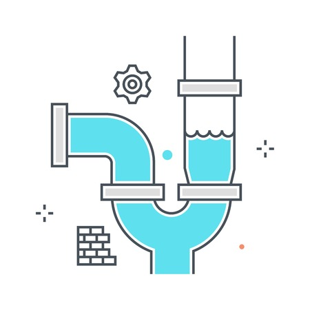 Color line, water pipe concept illustration, icon, background and graphics. The illustration is colorful, flat, vector, pixel perfect, suitable for web and print. It is linear stokes and fills.