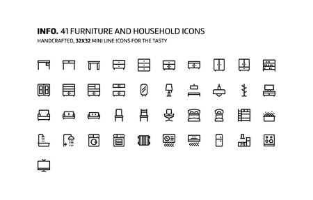 Furnitures mini line, illustrations, icons, backgrounds and graphics. The icons pack is black and white, flat, vector, pixel perfect, minimal, suitable for web and print.