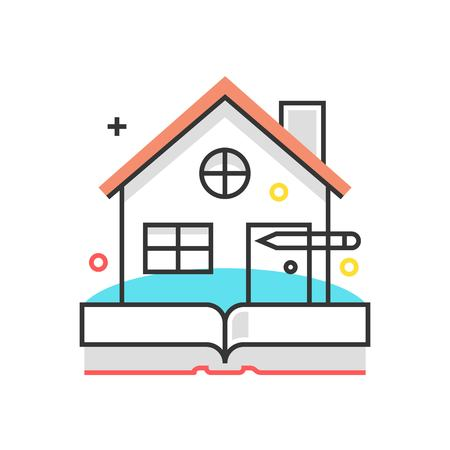 bidding: Color box icon, real estate illustration, icon, background and graphics. The illustration is colorful, flat, vector, pixel perfect, suitable for web and print. It is linear stokes and fills.