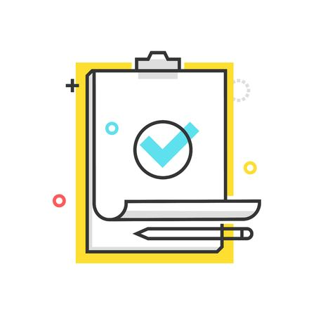 Color box check mark icon, background and graphics. The illustration is colorful, flat, vector, pixel perfect, suitable for web and print. It is linear stokes and fills. Illustration