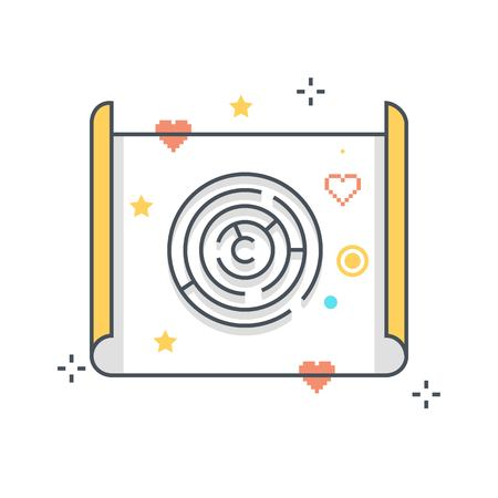 Color line, maze concept illustration, icon, background and graphics. The illustration is colorful, flat, vector, pixel perfect, suitable for web and print. It is linear stokes and fills.