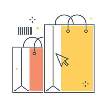 Color line, shopping bag concept illustration, icon, background and graphics. The illustration is colorful, flat, vector, pixel perfect, suitable for web and print. It is linear stokes and fills.