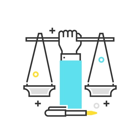 fair trial: Color box icon, civil rights illustration, icon, background and graphics. The illustration is colorful, flat, vector, pixel perfect, suitable for web and print. It is linear stokes and fills.