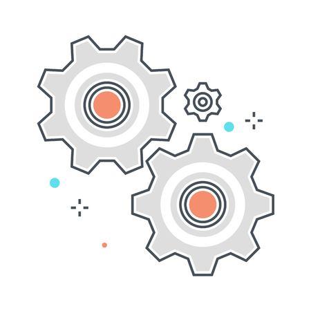 Ligne de couleur, engrenages, illustration de concept de roue dentée, icône, arrière-plan et graphiques. L'illustration est colorée, plate, vectorielle, pixel parfaite, adaptée au web et à l'impression. C'est linéaire stokes et remplit. Vecteurs