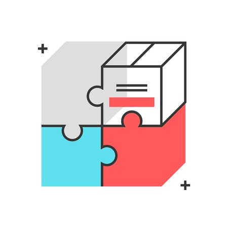 Color box icon, product market fit concept illustration, icon, background and graphics. The illustration is colorful, flat, vector, pixel perfect, suitable for web and print. It is linear stokes and fills.