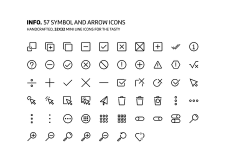 Symbols mini line, illustrations, icons, backgrounds and graphics. The icons pack is black and white, flat, vector, pixel perfect, minimal, suitable for web and print. Linear pictograms.