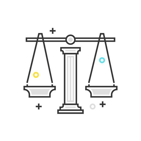 Color box icon, law scale illustration, icon, background and graphics. The illustration is colorful, flat, vector, pixel perfect, suitable for web and print. It is linear stokes and fills.