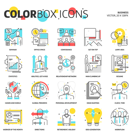 carrer: Color box icons, business illustrations, icons, backgrounds and graphics. The illustration is colorful, flat, vector, pixel perfect, suitable for web and print. Linear stokes and fills.