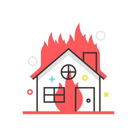 general insurance: Color box icon, house fire protection illustration, icon, background and graphics. The illustration is colorful, flat, vector, pixel perfect, suitable for web and print. It is linear stokes and fills.