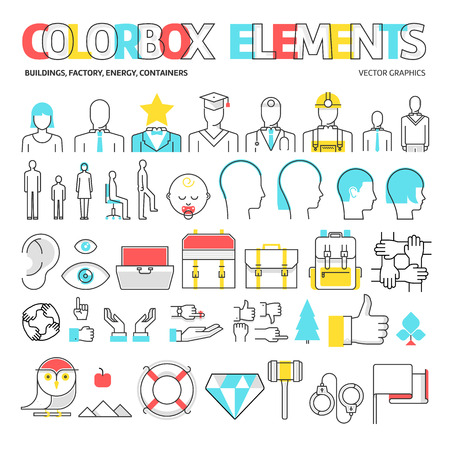 Color box icons, elements graphics. The illustration is colorful, flat, vector, pixel perfect, suitable for web and print. Linear stokes and fills.
