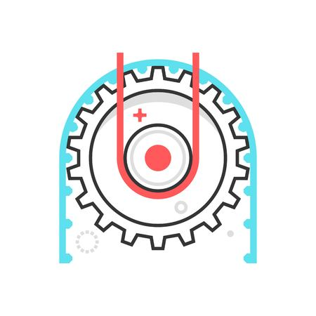 Color box icon, working cog illustration, icon, background and graphics. The illustration is colorful, flat, vector, pixel perfect, suitable for web and print. It is linear stokes and fills.