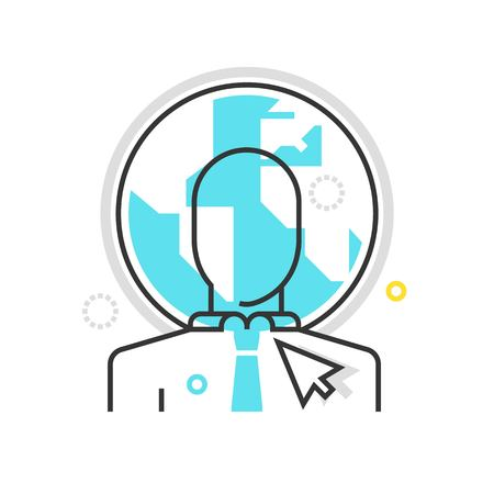 costs: Color box icon, outsource illustration, icon, background and graphics. The illustration is colorful, flat, vector, pixel perfect for web and print. Linear stokes and fills. Illustration