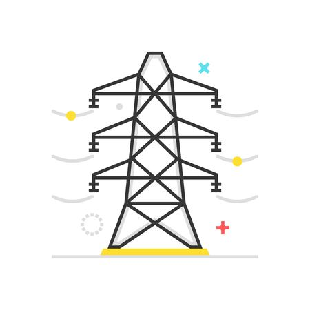 electricity providers: Color box icon, electric line illustration, icon, background and graphics. The illustration is colorful, flat, vector, pixel perfect, suitable for web and print. It is linear stokes and fills. Illustration