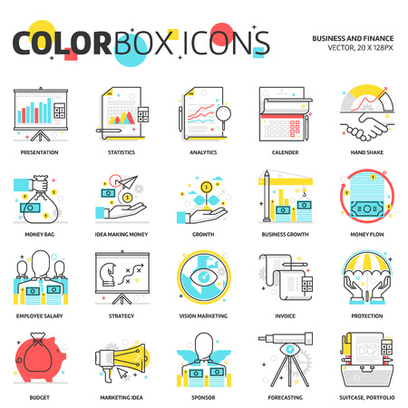 Color box icons, business backgrounds and graphics. The illustration is colorful, flat, vector. Illustration