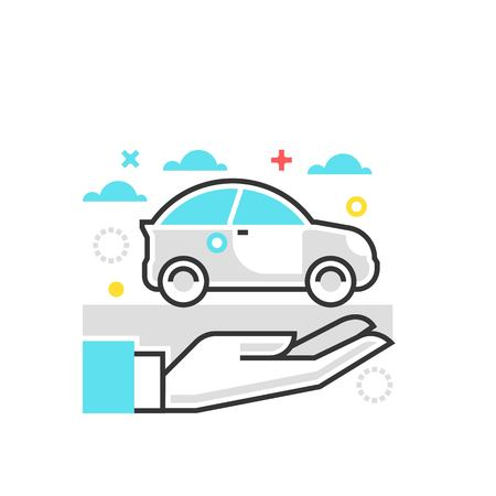 admiral: Color box icon, car protection illustration, icon, background and graphics. The illustration is colorful, flat, vector, pixel perfect, suitable for web and print. It is linear stokes and fills. Illustration
