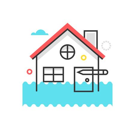 general insurance: Color box icon, house flood protection illustration, icon, background and graphics. The illustration is colorful, flat, vector, pixel perfect, suitable for web and print. It is linear stokes and fills. Illustration
