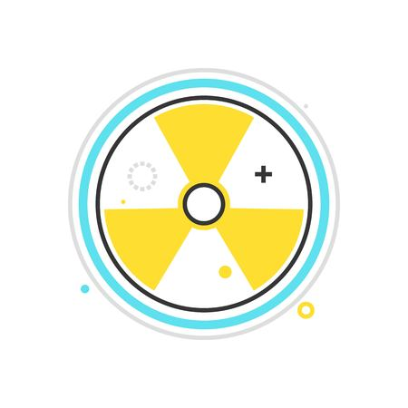 caution chemistry: Color box icon, nuclear energy illustration, icon, background and graphics. The illustration is colorful, flat, vector, pixel perfect for web and print. Linear stokes and fills. Illustration